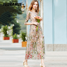 IUURANUS Vintage Embroidery Dresses Floral Bohemian Flower Embroidered 2 Pieces Boho Mesh For Women Evening Party Dresse