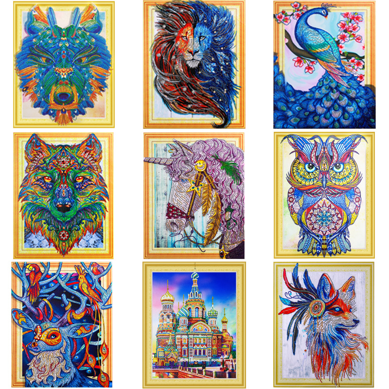 Special Shaped Diamond Painting Cat Tiger Horse Castle craft Needlework 3D Drill Mosaic DIY Diamond Embroidery Animal 40X50CMSpecial Shaped Diamond Painting Cat Tiger Horse Castle craft Needlework 3D Drill Mosaic DIY Diamond Embroidery Animal 40X50CM