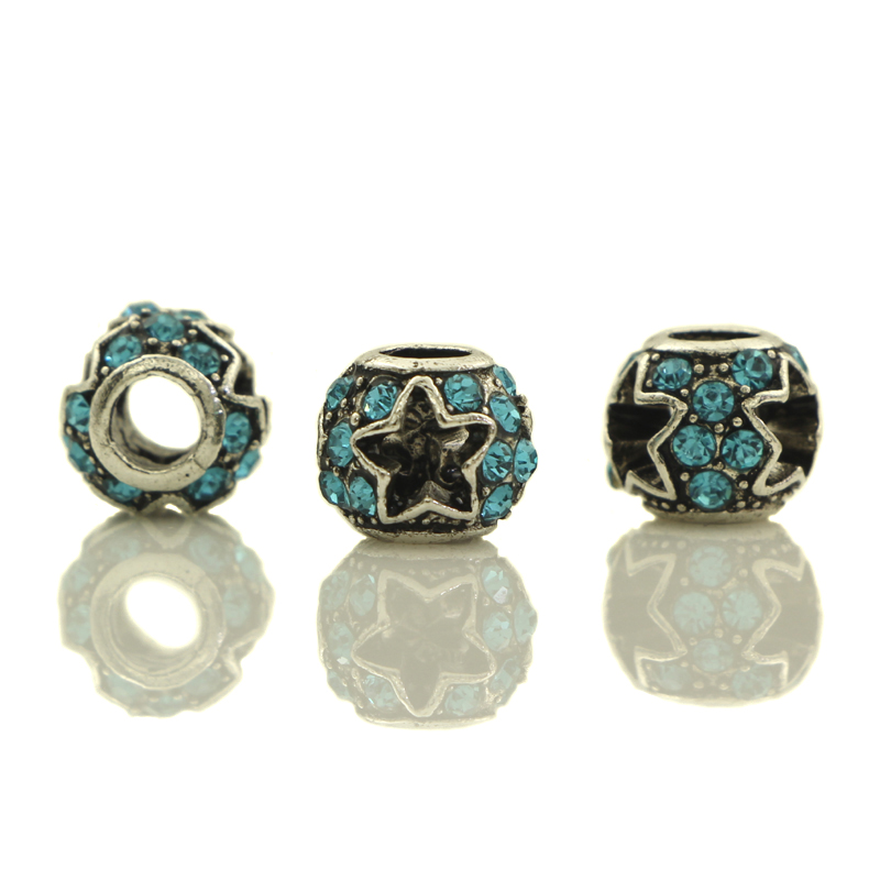 20-50pcs Peacock Blue Crystal Tibetan Silver Plated Carved Star Spacer European Big Hole Beads For DIY Jewelry Charms Bracelets