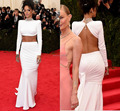 White High neck Riahnna Oscar Celebrity Dresses Mermaid Sexy Floor-Length Full Sleeves Backless Sexy Formal Evening Gowns XA034