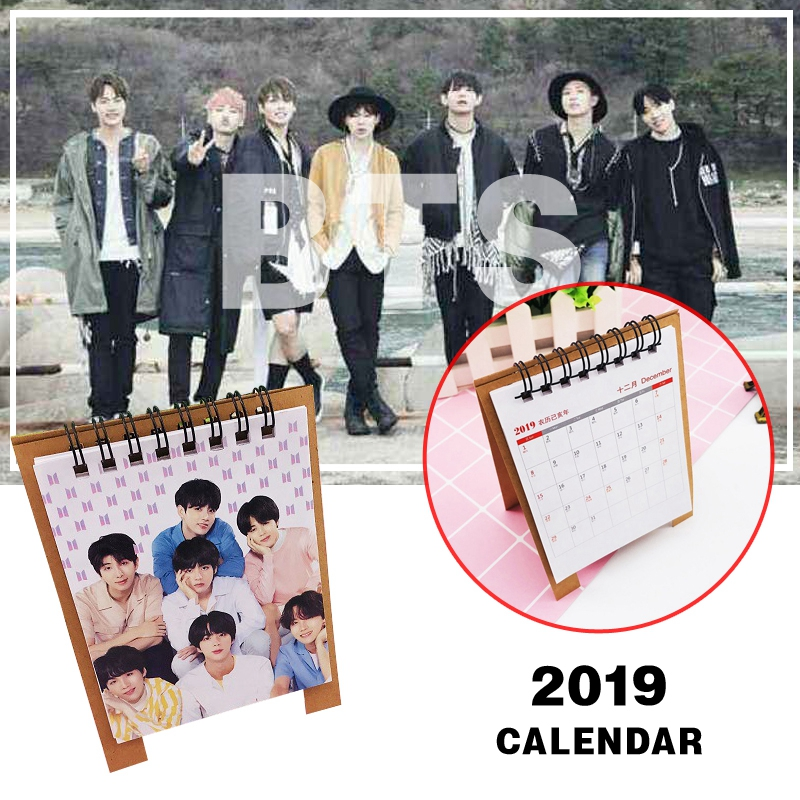2019 Kpop Readings BTS Love Yourself Bangtan Boys Mini Picture Album Desk Calendar Decor Bag Parts Accessories 12*15cm/5*6inch [mykpop]bts bangtan boys love yourself to tears mug coffee water milk ceramic cup creative kpop fans collection sa18061017