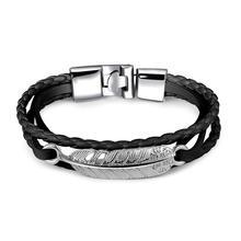 07b4400c8209 Vintage PU En Cuir Bracelets Plume Conception Alliage Fermoir Bracelet pour  Femmes Hommes Bijoux Noir Brun Blanc Couleur Corde C..