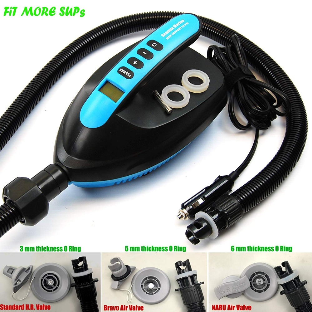 US $119 9   SUP Electric Air Pump for Inflatable Paddle Board, Max 20 PSI  and Additional 5 Valve Fittings Included-in Surfing from Sports &