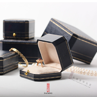 Classic Octagonal Section High Grade Blue Dark Button Ring Box Necklace Box Jewelry Gift Box