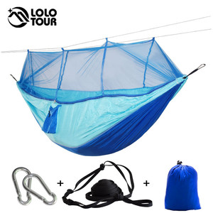 Image 5 - Outdoor Camping Parachute Hammock Mosquito Net Flyknit Double Leisure Sleeping Hanging Chair Tent Travel Survival Army Green