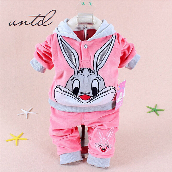 New Baby Girls Clothing Set Cartoon Velvet Rabbit Embroidery Long Sleeve Hoodie + Pants 2Pc Suit Baby Kids Clothing Sets
