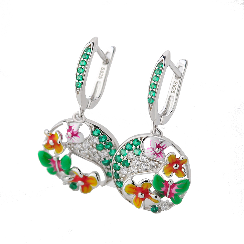 все цены на RainMarch 925 Sterling Silver Drop Earrings For Women Flower Enamel Silver Wedding Earring Bohemian Handmade enamel Jewelry