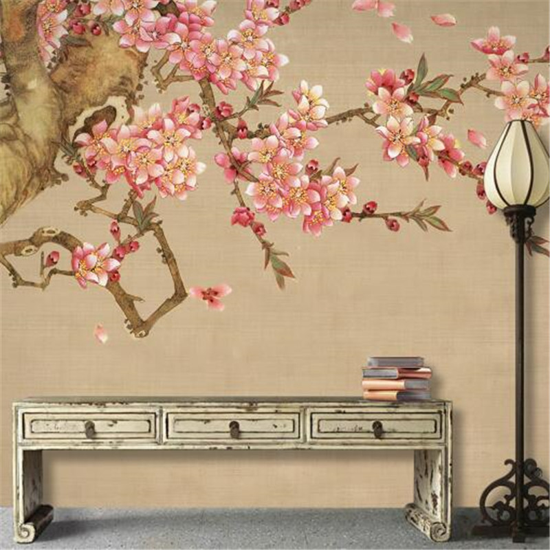 Chinese Style Wall Paper for Walls 3D Hand Drawn Non-Woven Wallpapers Plum Blossom Flowers and Birds Wallpapers for Living Room modern personalized non woven wall paper roll exotic wallpapers geometric for bedroom living room walls wall mural paper contact