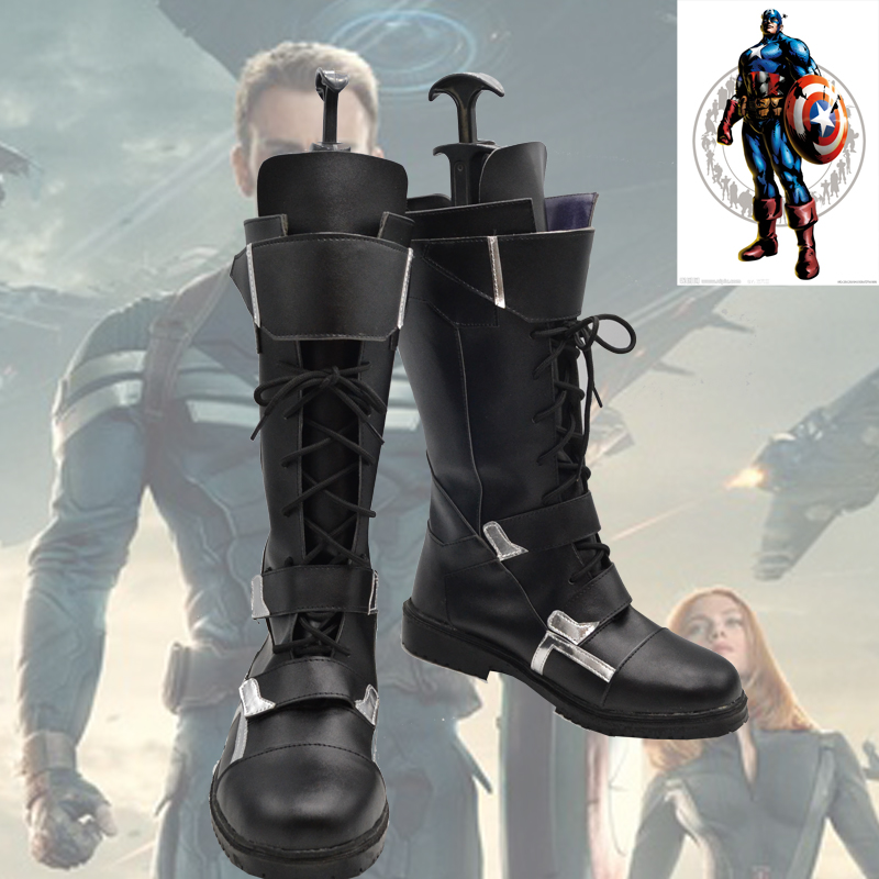 Captain America Winter Soldier Cosplay Boots custom made shoes movie captain america the winter soldier black widow cosplay costume custom made any size