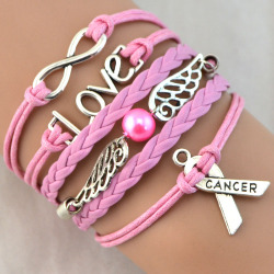 1 pc free shipping silver infinity breast cancer love charm pink wax cord gray braided pu.jpg 250x250