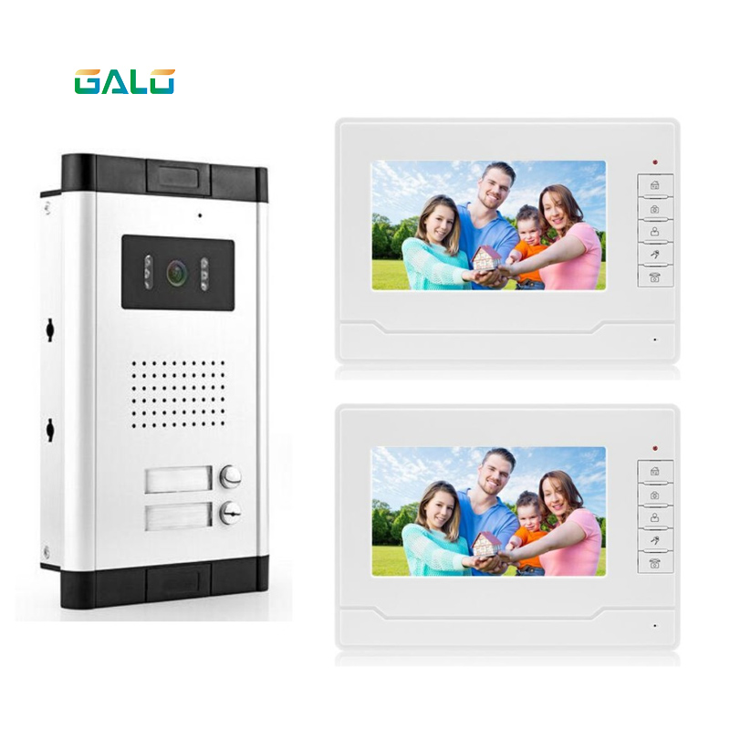 Video Intercom 7 Inch Memory Video Doorphone Apartment Building Intercom System With 2 Rooms