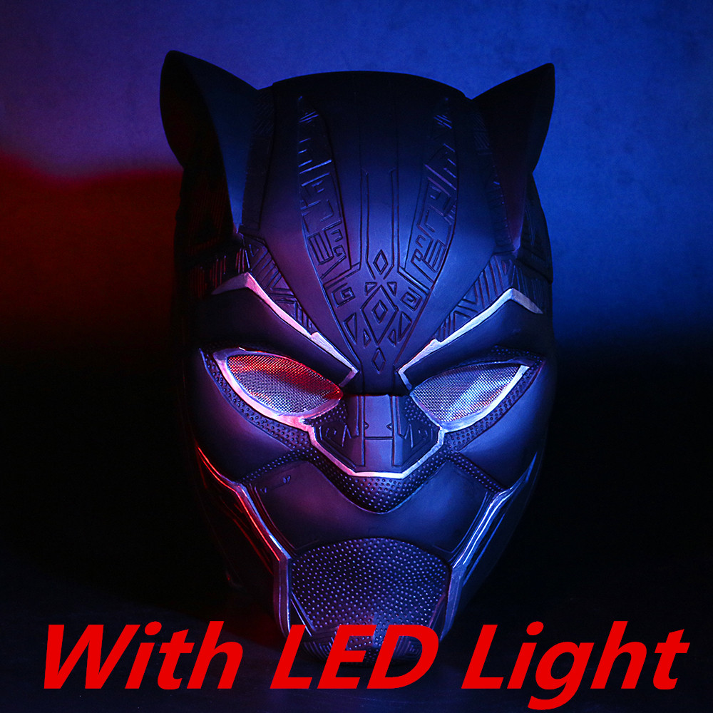 2018 New Black Panther Helmet With Led Light Cosplay T'Challa Mask Halloween Party Helmet Prop