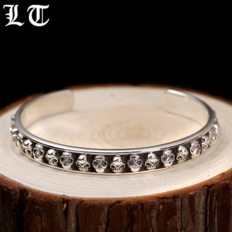 LT Skulls Solid 925 Sterling Silver Open Cuff Bangle Men Bracelets For Women Vintage Handmade Punk Rock Fashion Jewelry For Male soqmo bamboo shape 100% 925 sterling silver cuff bangle for men women simple fashion style bracelets novelty handmade jewelry
