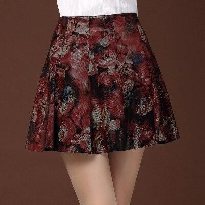 Женская плиссированная юбка из овчины с принтом