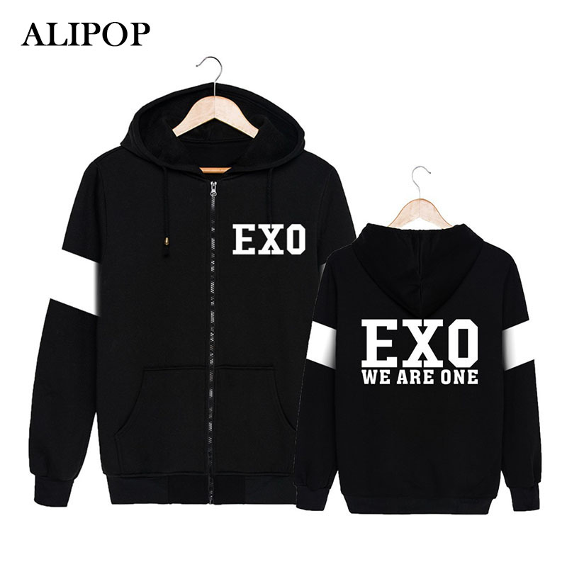 ALIPOP KPOP Korean Fashion EXO Album WE ARE ONE Beakhyun Chanyeol D.O. Cotton Zipper Hoodies Clothes Zip-up Sweatshirts PT249