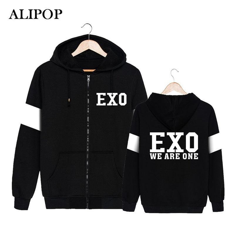 ALIPOP KPOP Korean Fashion EXO Album WE ARE ONE Beakhyun Chanyeol D.O. Cotton Zipper Hoodies Clothes Zip-up Sweatshirts PT249