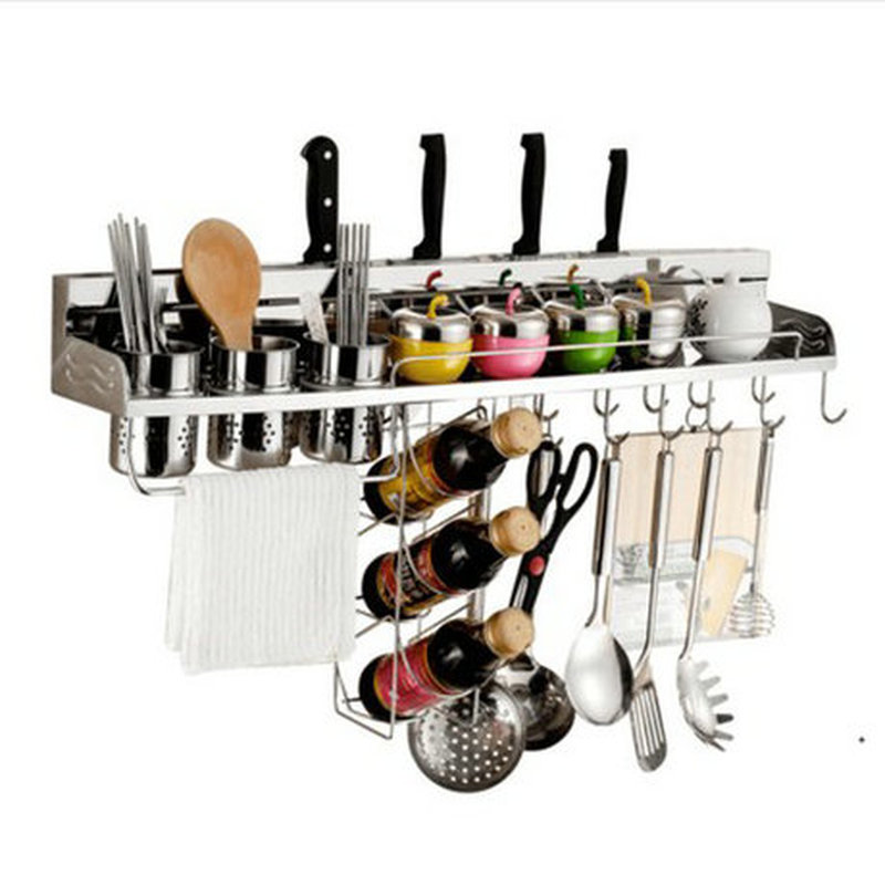 Space Aluminum Kitchen Storage Holder Multifunction Punch Free Nailless Stainless Steel Wall-mounted with Guardrail Knife Rack image