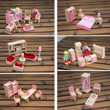 6 видов забавных детских ролевых игр деревянная игрушка кукольный домик детская комната столовая гостиная romm миниатюрная мебель