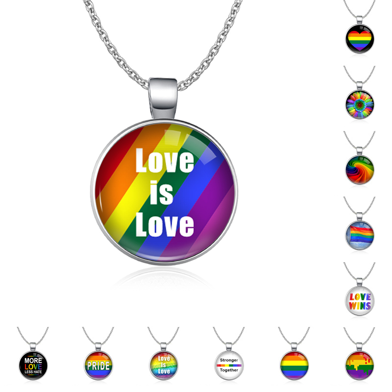 Rainbow Infinity Love Wins Heart GLBT for Lesbians Gays <font><b>Bisexuals</b></font> Transgender Men's LGBT Rights <font><b>Pride</b></font> Necklaces for Women image