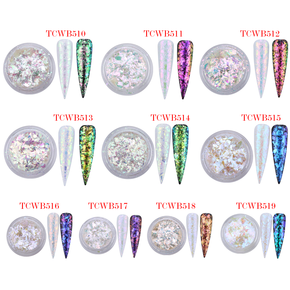 TCT 238 Unicorn White Chameleon Flakes Magic Flakes Multi Chrome Nail Powder Rainbow Flakes Nails Glitter