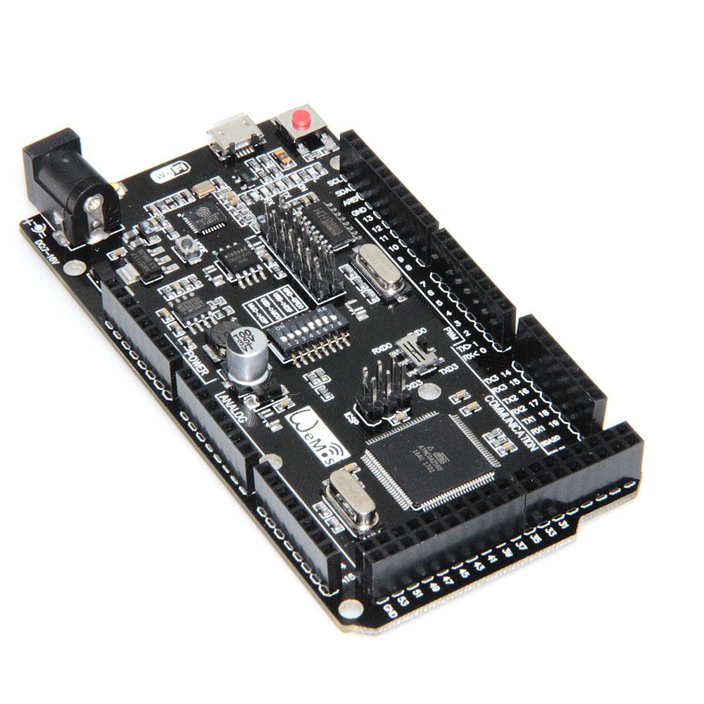 Mega +WiFi R3 ATmega2560+ESP8266 {4 Mt bytes (32 Mt bit) memory} USB-TTL CH340G Compatible