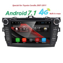 Android 7.1 dvd-плеер автомобиля для Toyota Corolla 2007 2008 2009 2010 2011 в тире 2 DIN 1024*600 dvd-gps-навигация в тире GPS