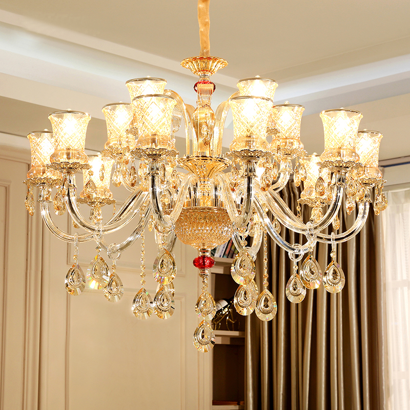 Antique Candle Chandeliers Champagne Crystal Chandelier: European Candle Crystal Chandelier Noble Champagne Gold