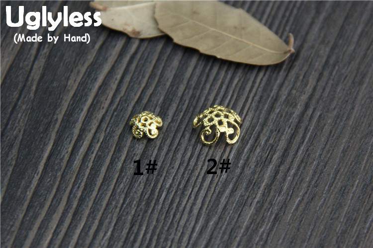 Uglyless Genuine S925 Sterling Silver Flowers Beading Accessories Jewelry DIY Hollow Vintage Floral Spacer Beads Ethnic Findings
