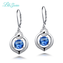 l&zuan S925 Silver Sapphire Drop Earrings For Womens Trendy 5.41ct Blue Natural Gemstones Luxury Round Fine jewelry Party