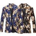 Дешевые Мужские Цветочные Пиджаки 2017 Весна Мода Повседневная Slim Fit Ретро Vintage Цветок Печатных Пиджак Для Мужчин