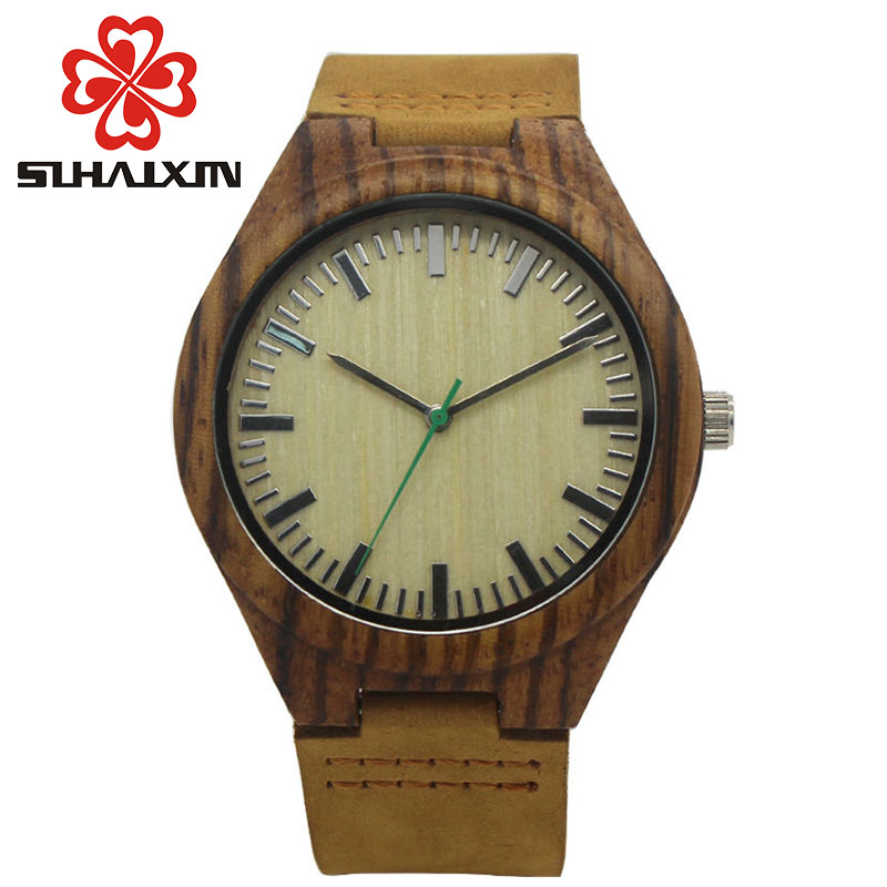 2017Newest Wooden Watches For Men And Women Quartz-Watch Genuine Leather Wristwatches Dark Wood Watch Mens Wrist Watch With Gift