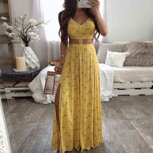 Floral Print Sleeveless Two Piece Set Women Sexy V Neck Cami Top Long Skirt Sets Summer Suits Sexy  Club Female Casual Outfits flower print double v neck cami top