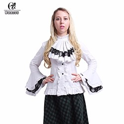 2016-High-Quality-Women-Lolita-Shirt-Cotton-White-Black-Victorian-Gothic-Lolita-Blouses-Lace-Flare-Sleeve