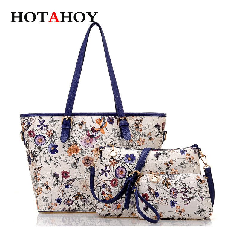 Floral Pattern Women Handbags Lash Package Shoulder Bags Three-piece Suit Composite Large Tote Bag For Ladies usb adapter cn support pc usb to profibus mpi ppi for simatic s7 200 300 400 plc 6es7 972 0cb20 0xa0 6es7972 0cb20 0xa0