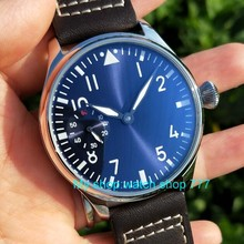 44mm PARNIS light blue dial Asian 6497 17 jewels Mechanical Hand Wind movement m