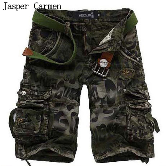 Mens Military Cargo Shorts 2017 Brand New Army Camouflage Shorts Men Cotton Loose Work Casual Short Pants Plus Size No Belt 47z