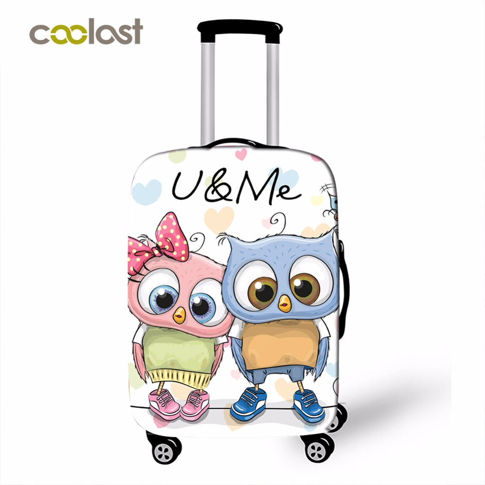 New Cute Owl Pattern Travel Suitcase Covers 18''-28''Girls High Elastic Luggage Protective Covers Dust Proof Suitcase Protector стоимость