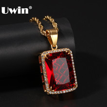 UWIN Stainless Steel Iced Cubic Zirconia Gem Necklace Black /Green/Red Square Pendant Chains Mens High Quality Hiphop Jewelry(China)
