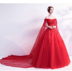 Walk Beside You Light Ivory Red Wedding Dresses Ball Gown Cheap Tulle Lace Applique Sequined Off Shoulder Long Sleeve Bride 2019 3