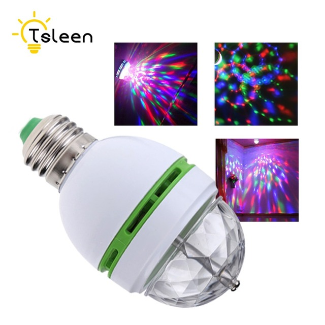 New TSLEEN Hot Sale E27 3W Full Color Stage DJ Lamp Light RGB Crystal Auto Rotating LED Bulb Lamp Convertor Holder Socket Base