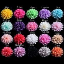 20pcs/Lot 12CM 20Colors Multi-Layers Chiffon Mesh Fabric Artificial Flowers For Kid Girls Hair Bow without Clip Dress Decoration