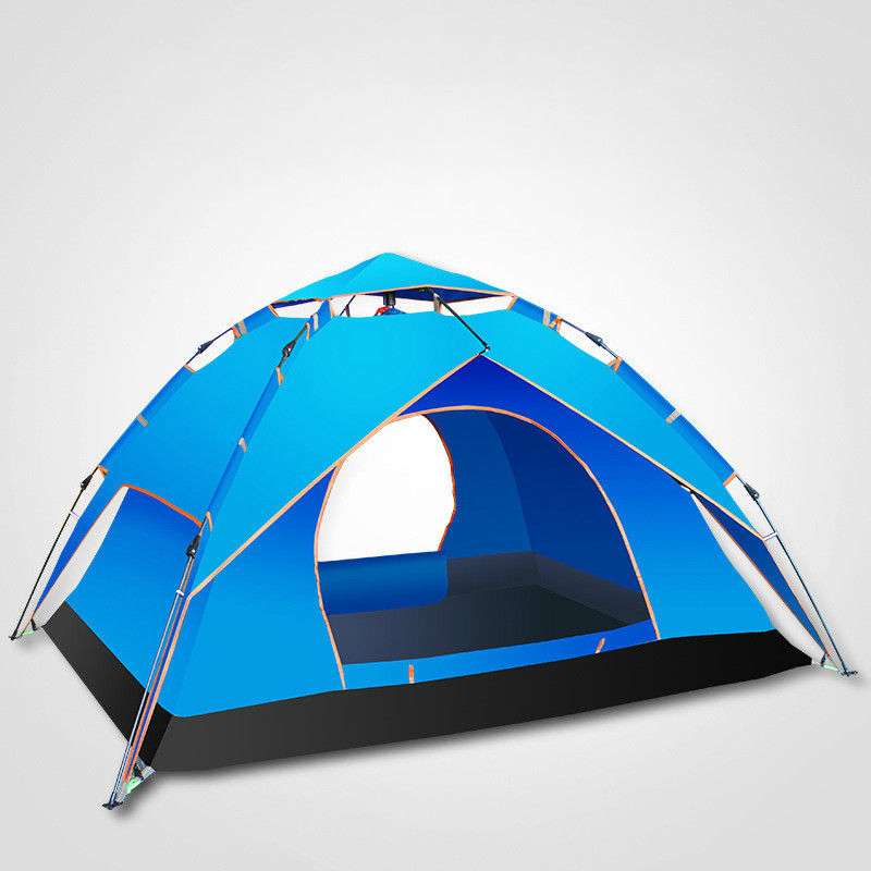 Camping Tent 3-4 person Tents Hydraulic automatic Waterproof Double Layer Tent Ultralight Outdoor Hiking Picnic tents yingtouman outdoor 2 person waterproof double layer tent fiberglass rod portable ultralight camping hikingtents