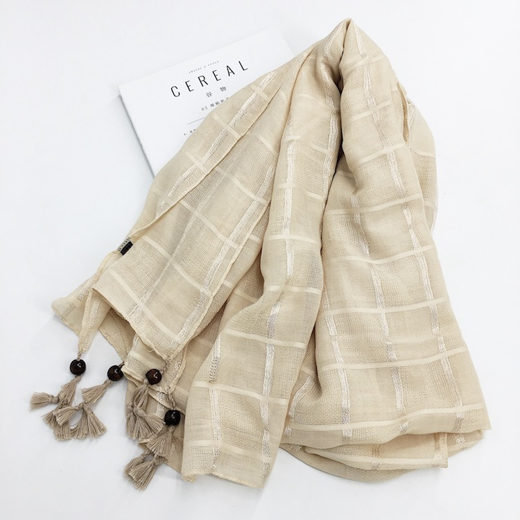 Ethnic Style Tassel Embroidery Flower Square Plaid Cotton Linen Scarf Female Sunscreen Shawl Beach Towel