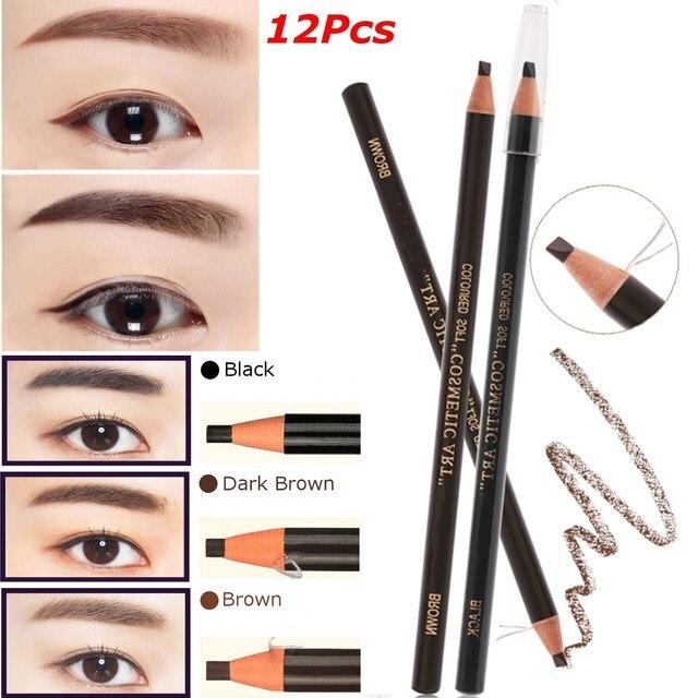 91a159896d4 Hot 12pcs/set Eyebrow Pencil Makeup Eye Brow Enhancers Pen Cosmetic  Waterproof Stereo Types Permanent Makeup Tattoo Art Tool