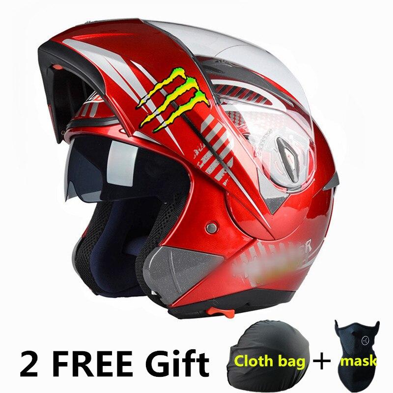 New Flip Up Racing font b helmet b font Modular Dual lens Motorcycle font b Helmet