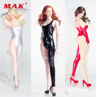 1/6 Female Clothes Accessory Sexy Tight Clothing Set Leather Jumpsuit Suit & High Heel shoes for 12'' Action Figure Body