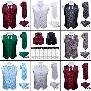 Image 2 - Barry.Wang Mens Classic White Floral Jacquard Silk Waistcoat Vests Handkerchief Party Wedding Tie Vest Suit Pocket Square Set