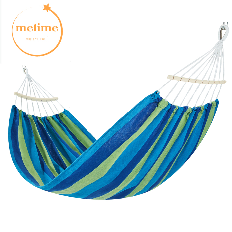 METIME Hammock with stick Single 200x100cm High Quality Garden swing Sleeping bed Portable Outdoor Camping Garden hanging chair 2 people portable parachute hammock outdoor survival camping hammocks garden leisure travel double hanging swing 2 6m 1 4m 3m 2m