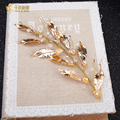Trendy Gold color Leaf Headband handmade hairband bridal forehead crystal beads stones jewelry wedding accessories tianzhihen