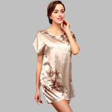 Summer Dress Sexy Silk Nightgown Sleepshirts Women Short-sleeves Loose Nightwear Female Lounge Sleepwear Nightshirt E0044